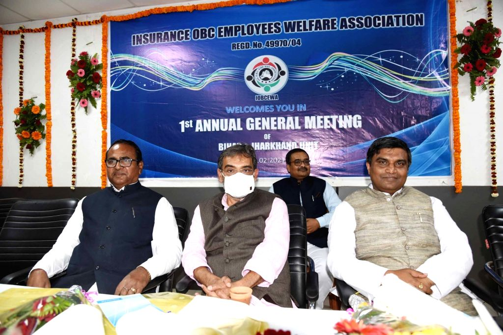 Rashtriya Lok Samta Party President Upendra Kushwaha addresses during annual general meeting for Insurance OBC Employees welfare association in Patna on Saturday February 20,2021