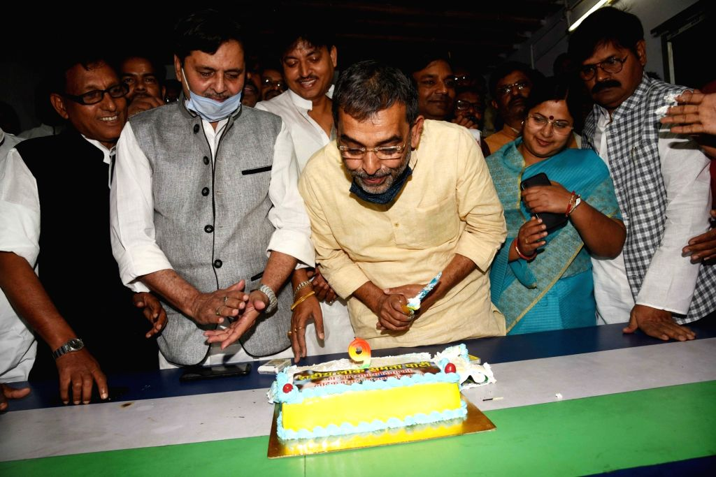 Rashtriya Lok Samta Party president Upendra Singh Kushwaha with other party members celebrating party's 9th foundation day, in Patna on Wednesday 03rd March, 2021. - Upendra Singh Kushwaha