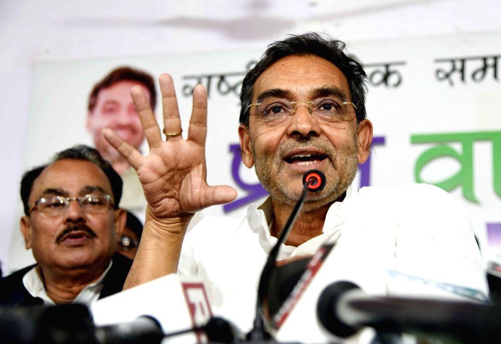 Rashtriya Lok Samta Party (RLSP) chief Upendra Kushwaha addresses a press conference in Patna, on March 13, 2019.