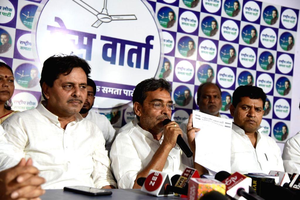 Rashtriya Lok Samta Party (RLSP) chief Upendra Kushwaha addresses a press conference, in Patna, on June 12, 2019.