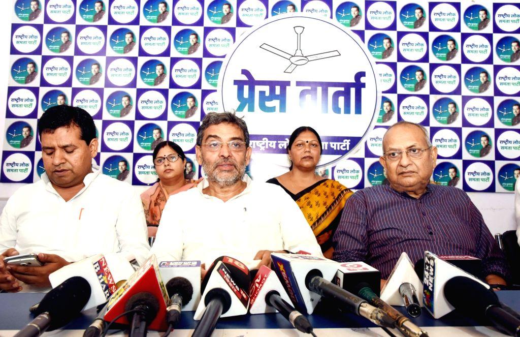 Rashtriya Lok Samta Party (RLSP) chief Upendra Kushwaha addresses a press conference in Patna on Sep 14, 2019.