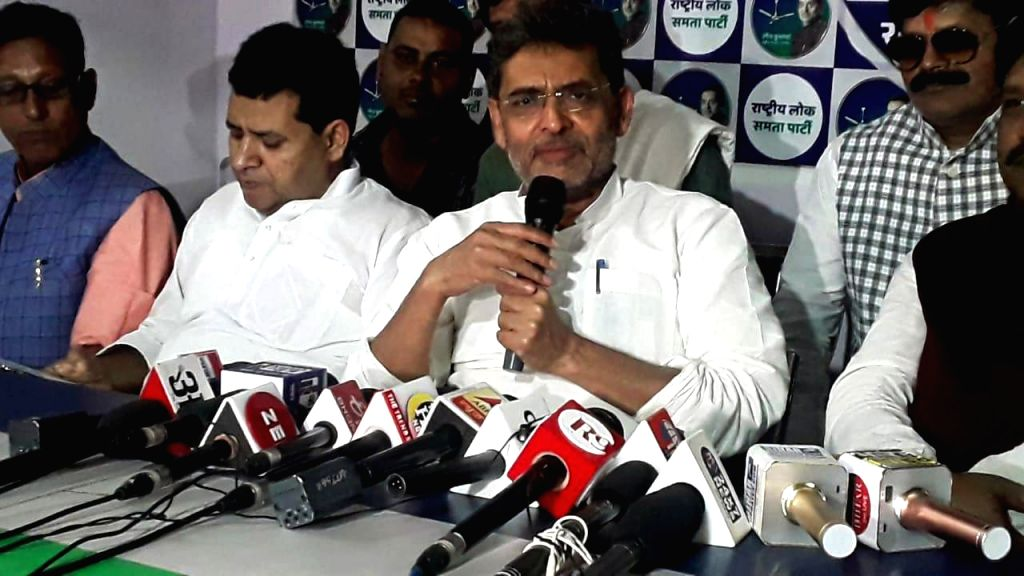 Rashtriya Lok Samta Party (RLSP) chief Upendra Kushwaha addresses a press conference in Patna on Nov 12, 2019.