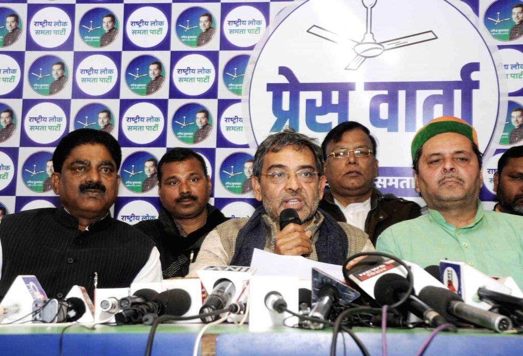 Rashtriya Lok Samta Party (RLSP) chief Upendra Kushwaha addresses a press conference in Patna on Jan 27, 2020.