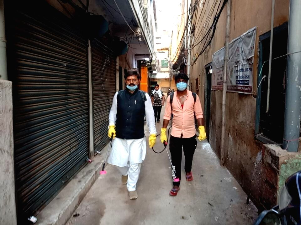 Rashtriya Lok Samta Party (RLSP) leader Baban Yadav conducts fogging and sanitisation across various localities of Patna amid COVID-19 lockdown imposed in the city in the wake of increasing ... - Baban Yadav