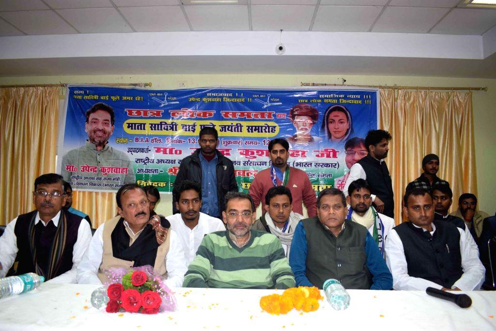 Rashtriya Lok Samta Party (RLSP) leader Upendra Kushwaha pays tribute to Savitribai Phule during a programme in Patna on Jan 13, 2017.