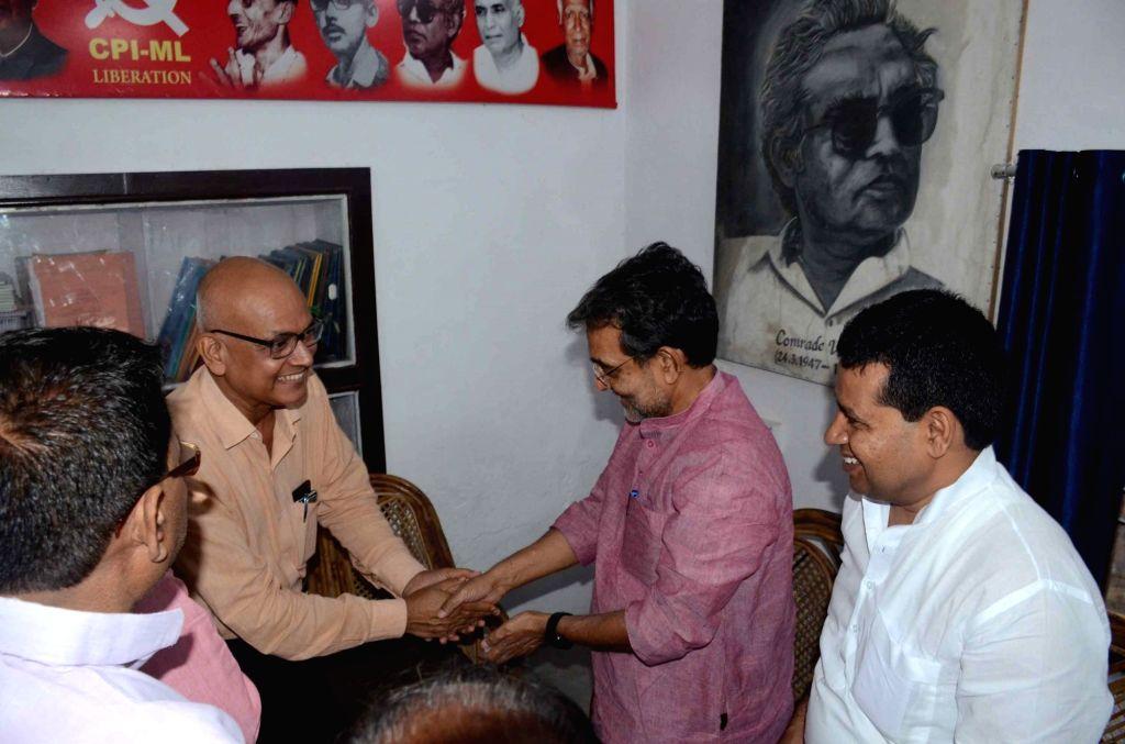 Rashtriya Lok Samta Party (RLSP) leader Upendra Kushwaha meets CPI-ML leaders, in Patna on Oct 10, 2019.
