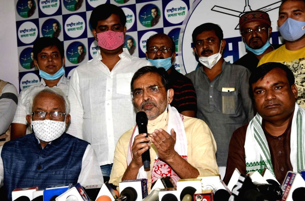 Rashtriya Lok Samta Party (RLSP) President Upendra Kushwaha addresses a press conference ahead of Bihar Assembly elections, in Patna on Oct 19, 2020.