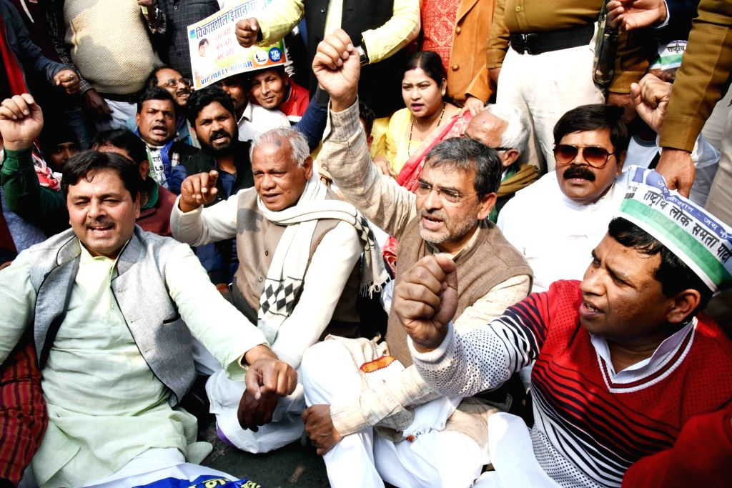 Rashtriya Lok Samta Party (RLSP) workers led by party chief Upendra Kushwaha stage a demonstration during a Bharat Bandh called by the Bahujan Kranti Morcha (BKM) and supported by many other ...