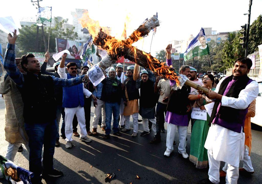 Rashtriya Lok Samta Party (RLSP) workers stage a demonstration against gang rape and murder cases in Bihar's Samastipur and Buxar; in Patna on Dec 6, 2019.