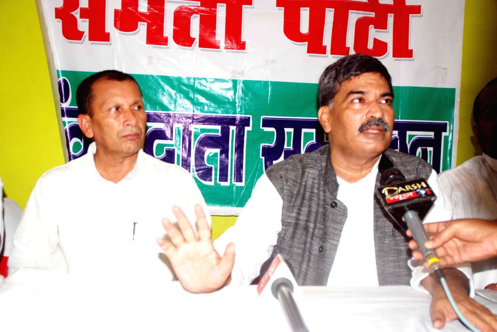Rashtriya Lok Samta Party ( RSLP) chief  Arun Kumar addresses a press conference in Patna on Aug 25, 2014. - Arun Kumar