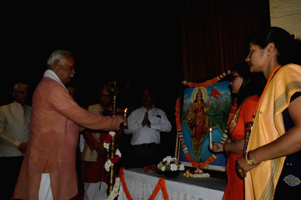 Rashtriya Swayamsevak Sangh chief Mohan Bhagwat during a programme in New Delhi on April 6, 2018.