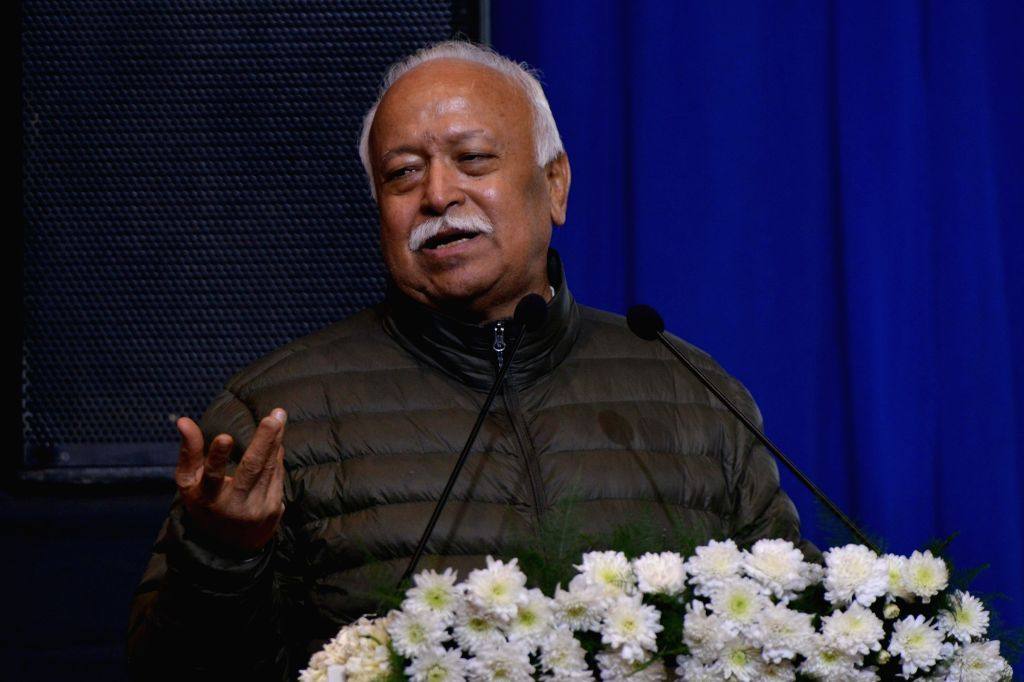 Rashtriya Swayamsevak Sangh (RSS) chief Mohan Bhagwat addresses during a condolence meeting organised to pay tributes to writer Devendra Swaroop in New Delhi, on Jan 21, 2019.