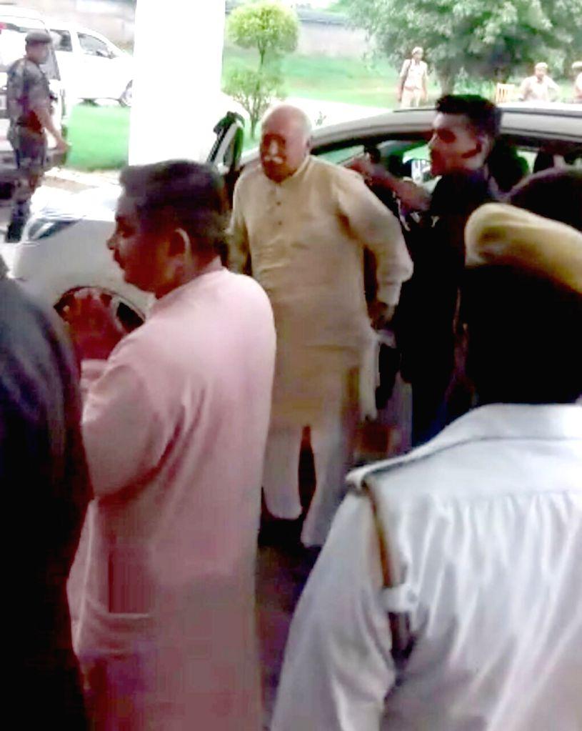 Rashtriya Swayamsevak Sangh (RSS) chief Mohan Bhagwat arrives in Vrindavan on July 26, 2019.