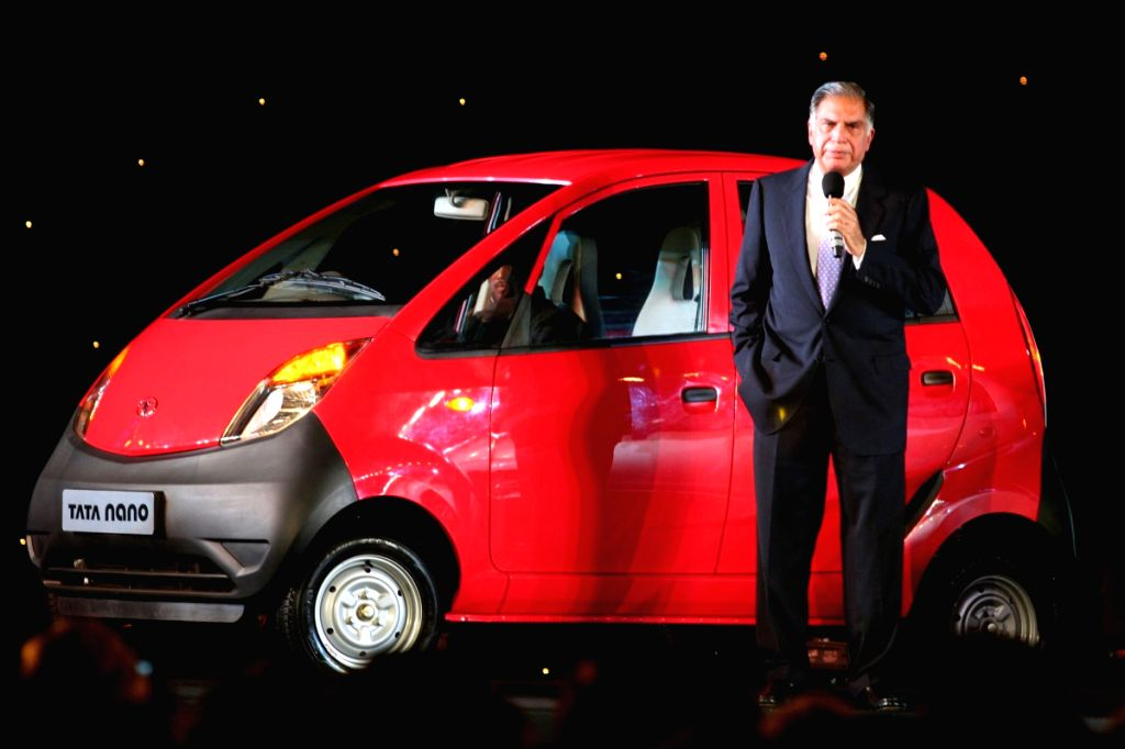 "Ratan Tata at the launch of his Dream Car ""Nano"" in Mumbai on 23rd March."