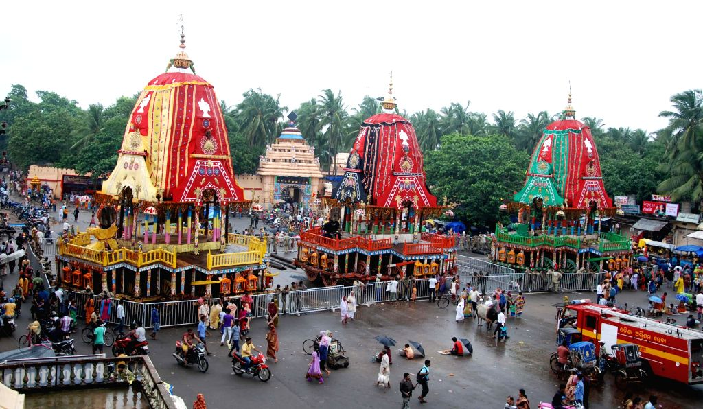 Raths (chariots) of Lord Jagannath, Lord Balabhadra and Devi Subhadra in Puri on July 3, 2014.
