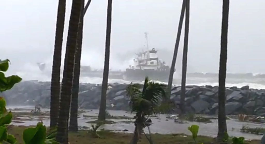 Ratnagiri: The ship which ran aground tossed by waves at Mirya Beach in Ratnagiri after Cyclone Nisarga made a landfall near Harihareshwar in Raigad district of Maharashtra on June 3, 2020. (Photo: IANS)