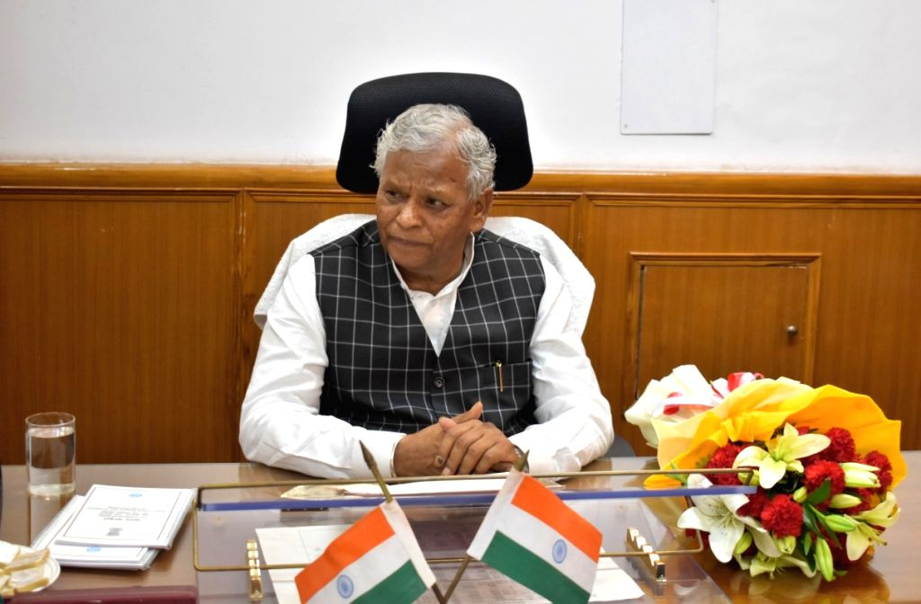 Rattan Lal Kataria takes charge as the Minister of State for Jal Shakti in New Delhi on May 31, 2019.