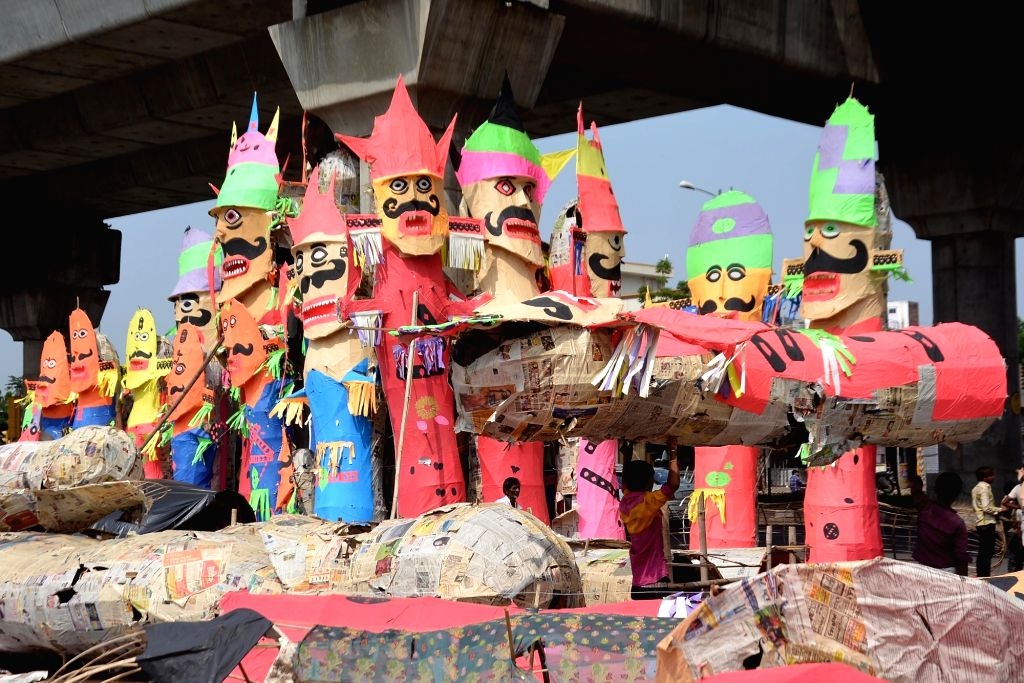 Ravana effigies being made ahead of Dussehra in Jaipur on Oct 7, 2016.