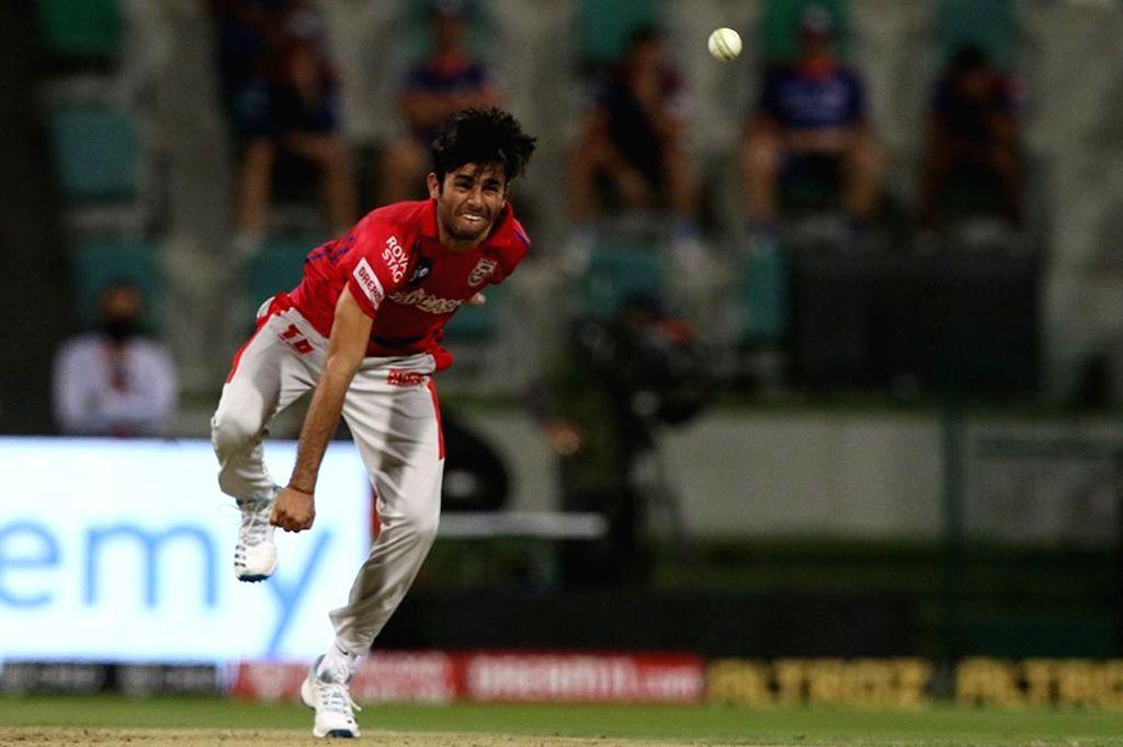 Ravi Bishnoi of Kings XI Punjab bowls during match 13 of season 13 of the Indian Premier League (IPL) between the Kings XI Punjab and the Mumbai Indians at the Sheikh Zayed Stadium, Abu Dhabi in the ...