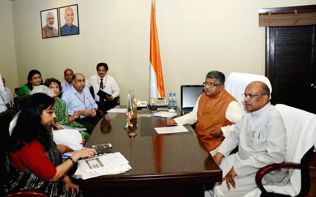 Ravi Shankar Prasad takes charge as the Union Minister for Communication, in New Delhi on June 3, 2019.