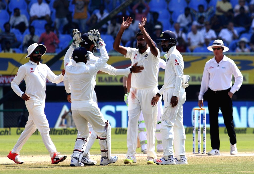Ravichandran Ashwin of India celebrates the wicket of Zafar Ansari of England during the Day-5 of the second test cricket match between India and England at the Dr. YS Rajasekhara ... - Rajasekhara Reddy A