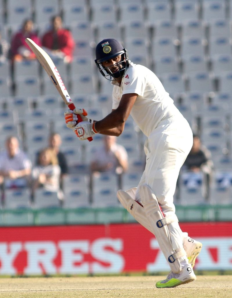 Ravichandran Ashwin of India in action during Day 3 of the third test match between India and England at Punjab Cricket Association IS Bindra Stadium, Mohali on Nov 28, 2016.