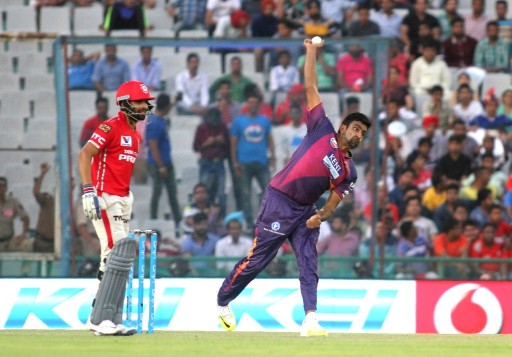 Ravichandran Ashwin of Rising Pune Supergiants in action during an IPL match between Kings XI Punjab and Rising Pune Supergiants at Punjab Cricket Association IS Bindra Stadium in Mohali on ...