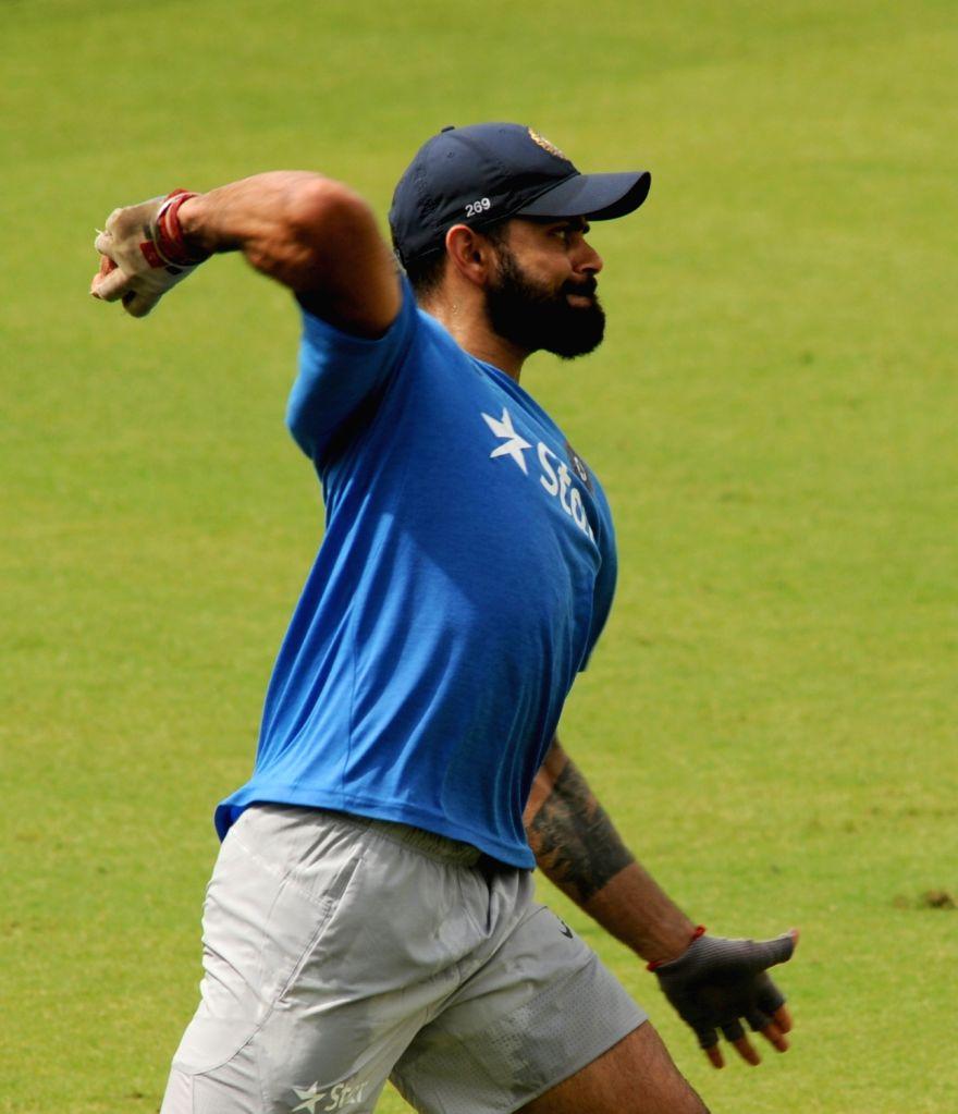 Ravindra Jadeja of India during a practice session at Holkar Stadium ahead of the Third Test match against New Zealand in Indore on Oct 7, 2016. - Ravindra Jadeja
