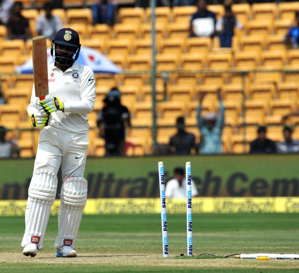 Ravindra Jadeja of India gets dismissed during the third day of the second test match between India and Australia at M. Chinnaswamy Stadium in Bengaluru on March 6, 2017. - Ravindra Jadeja
