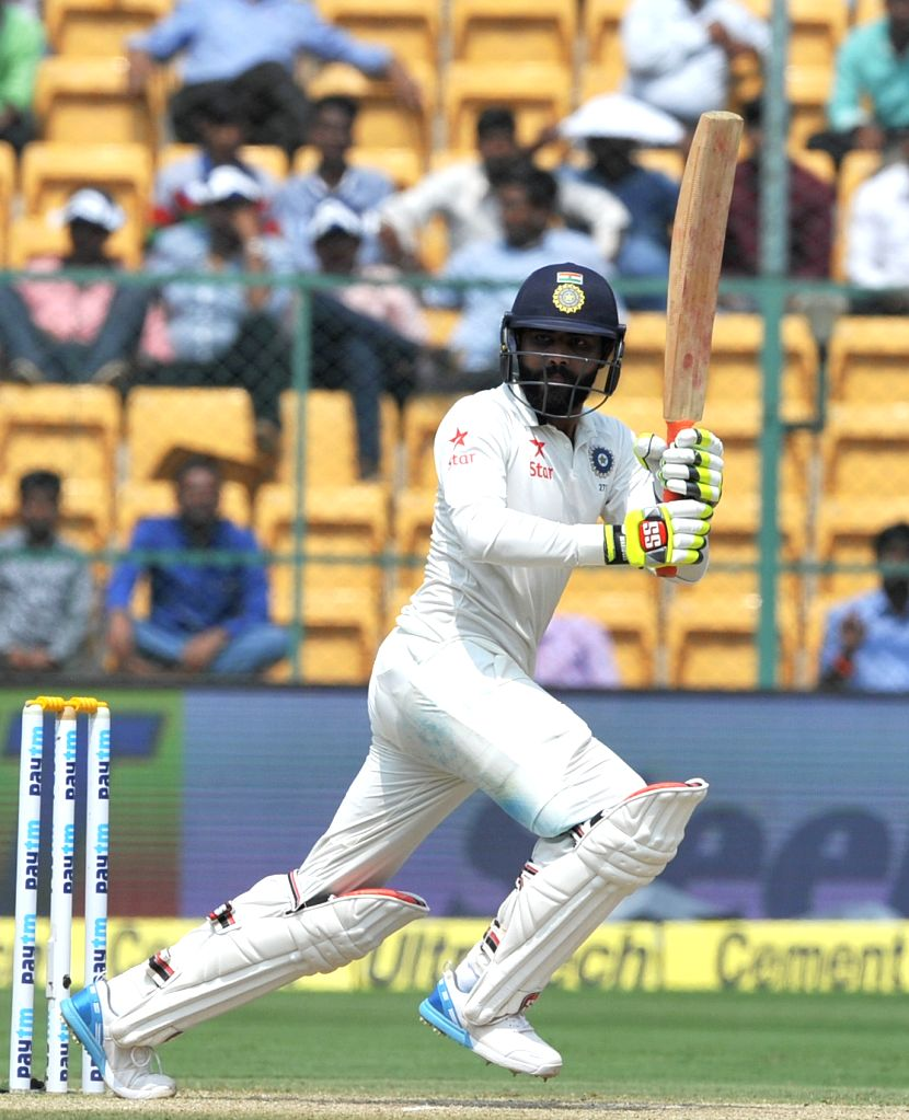 Ravindra Jadeja of India in action during the third day of the second test match between India and Australia at M. Chinnaswamy Stadium in Bengaluru on March 6, 2017. - Ravindra Jadeja