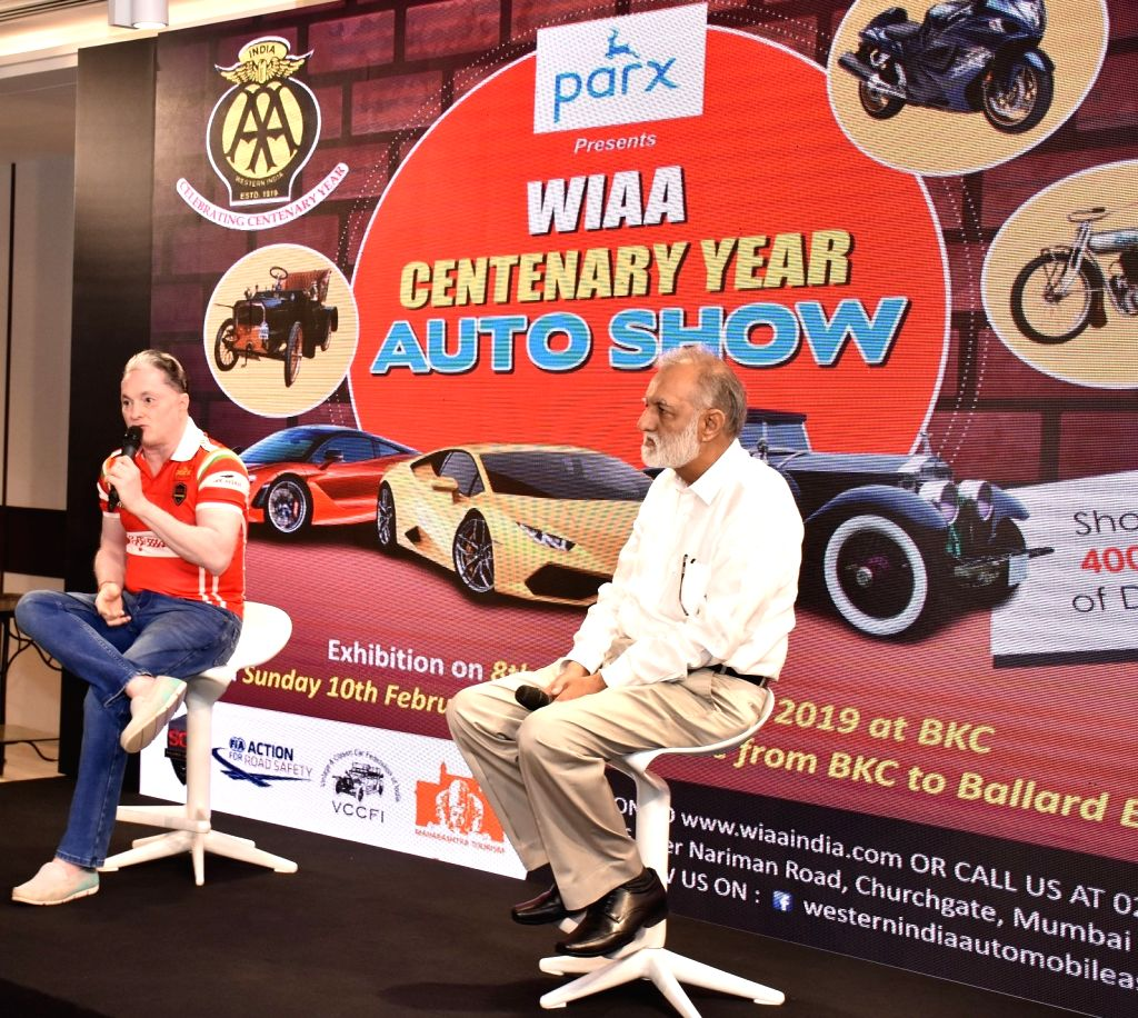 Raymond Group Chairman and Managing Director Gautam Singhania addresses a press conference regarding Parx Super Car Show 2019 in Mumbai, on Jan 31, 2019. Also seen India Vintage and Classic ...