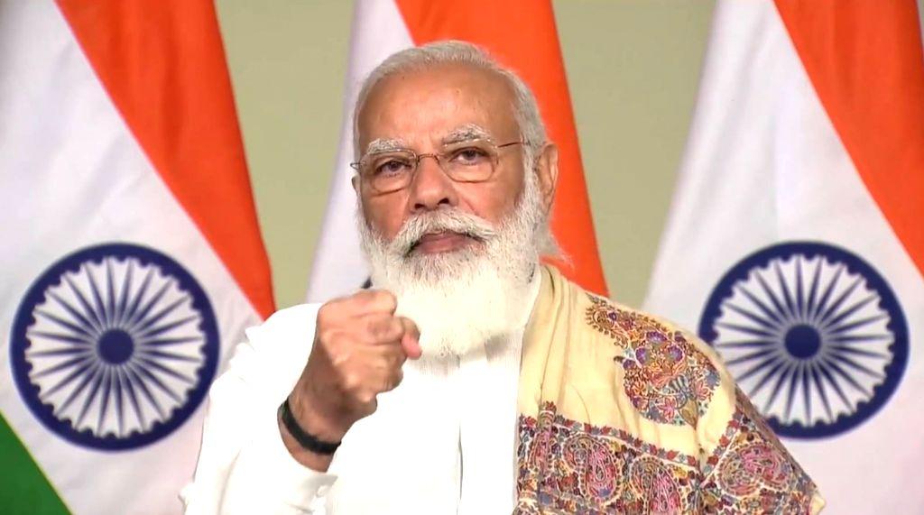 Raysan: Prime Minister Narendra Modi attends the 8th Convocation Ceremony of Pandit Deendayal Petroleum University in Raysan, Gujarat  on November 21, 2020. (Photo: IANS) - Narendra Modi
