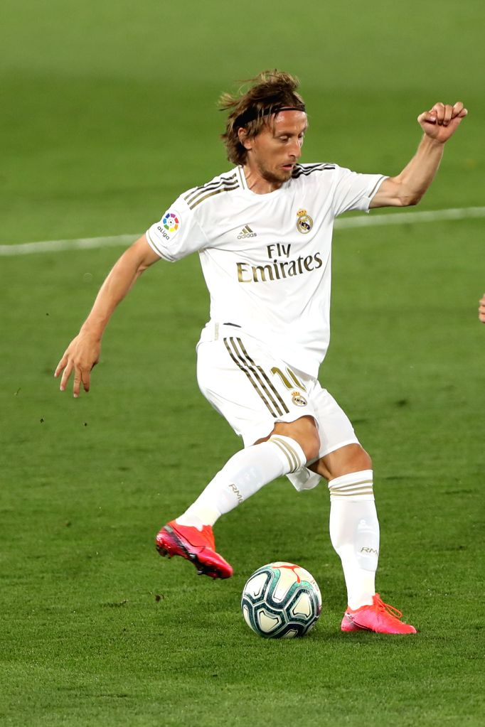 Real Madrid's Luca Modric competes during a Spanish league football match between Real Madrid and Getafe in Madrid, Spain, July 2, 2020.