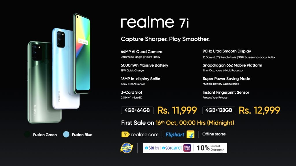 Realme 7i With Snapdragon 662 SoC, quad rear camera launched in India.