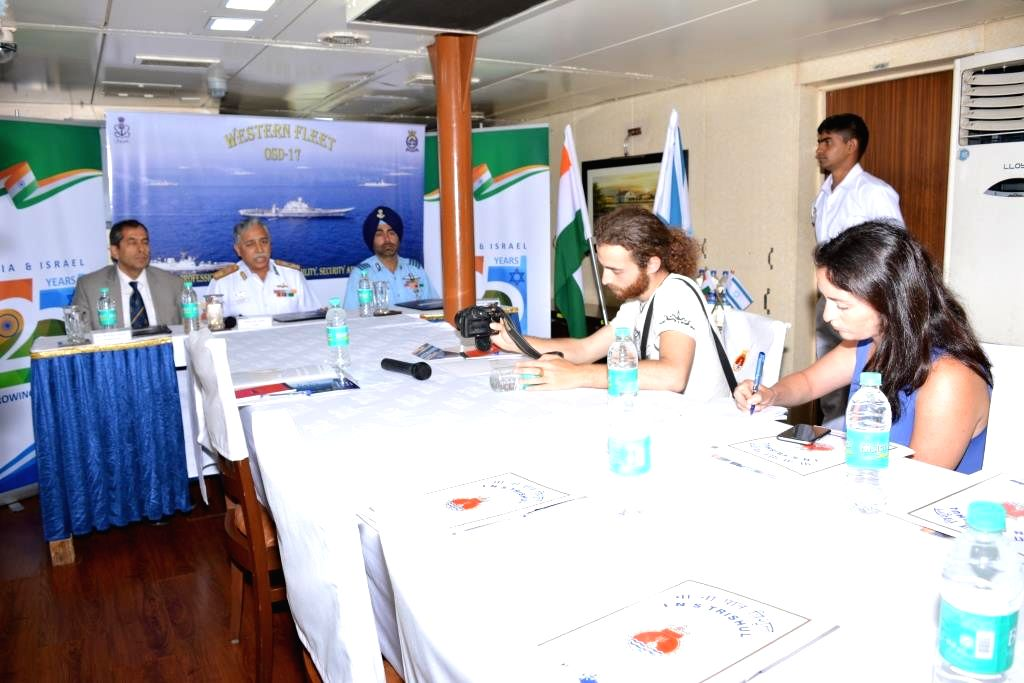 Rear Admiral RB Pandit Western Fleet Commander (FOCWF) having media interaction on-board INS Trishul at Haifa Israel