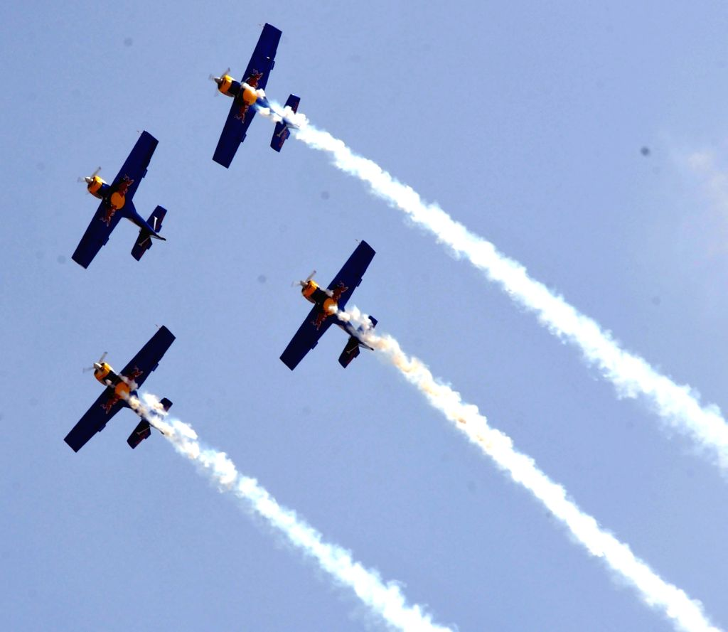 Red bull display during 9th Edition of Aero India Show 2013 at Yelahanka Air force Station in Bengaluru on Wednesday 6th of February 2013.