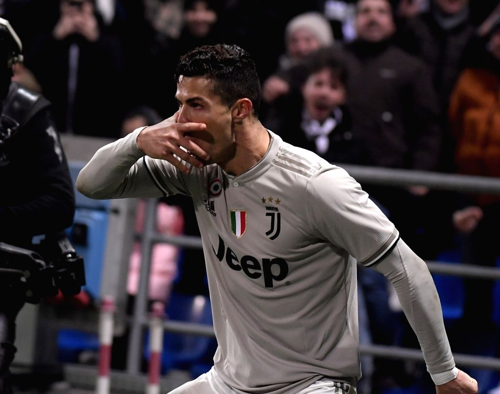 REGGIO EMILIA, Feb. 11, 2019 - Juventus' Cristiano Ronaldo celebrates during a Serie A soccer match between Sassuolo and FC Juventus in Reggio Emilia, Italy, Feb. 10 , 2019. FC Juventus won 3-0.