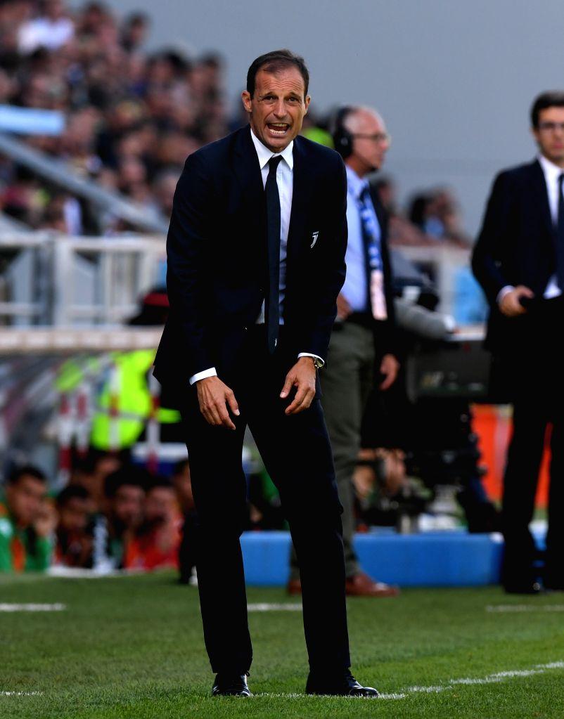 REGGIO EMILIA, Sept. 18, 2017 - Juventus' head coach Massimiliano Allegri gestures during a Serie A soccer match between Juventus and Sassuolo in Reggio Emilia, Italy, Sept. 17, 2017. Juventus won ...