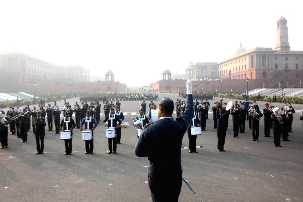 Rehearsals for Beating Retreat ceremony underway at the Vijay Chowak in New Delhi, on Jan 16, 2017.