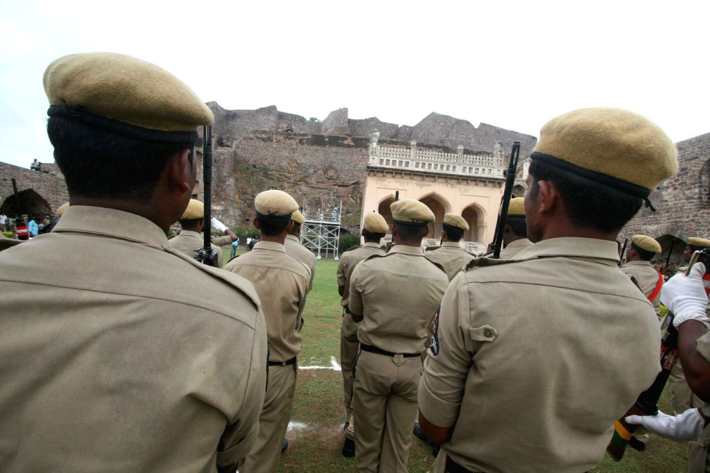 Rehearsals for Independence Day underway at the Golconda Fort in Hyderabad, on Aug 12, 2015.