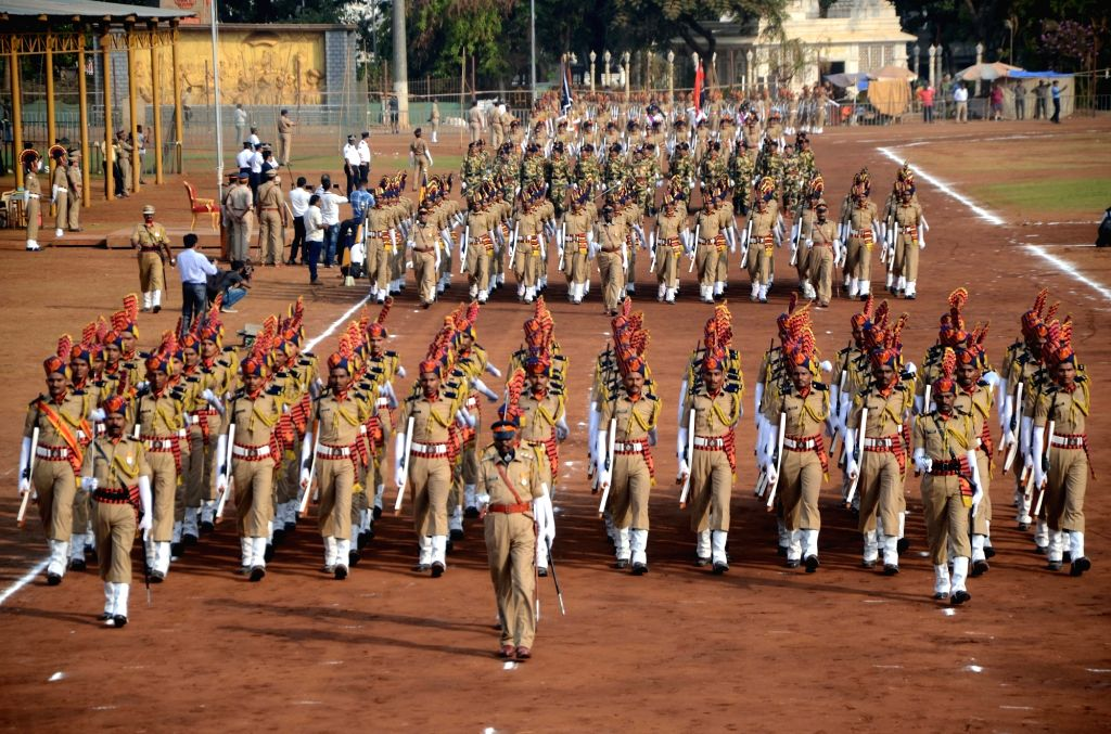 Rehearsals for Maharashtra Day celebrations underway at Shivaji Park in Mumbai's Dadar on April 27, 2019.
