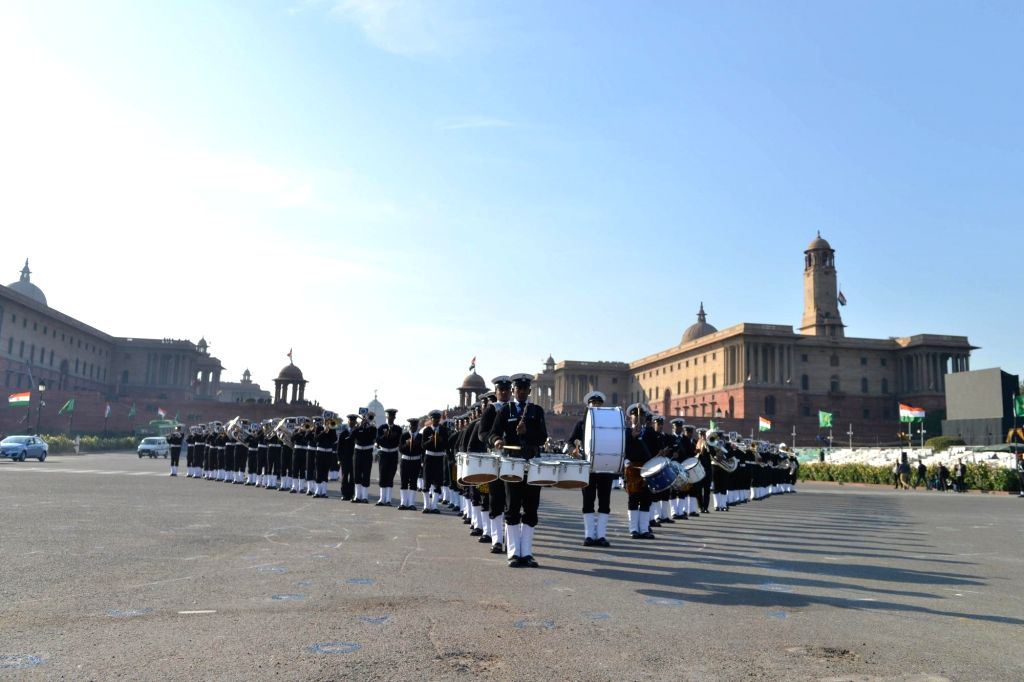 Rehearsals for the Beating Retreat ceremony underway ahead of the Republic Day celebrations 2020, at Raisina Hills in New Delhi on Jan 24, 2020.