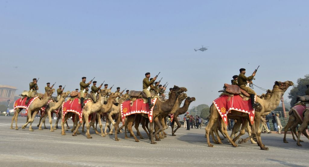 Rehearsals underway ahead of Republic Day at Rajpath in New Delhi on Jan 18, 2018.