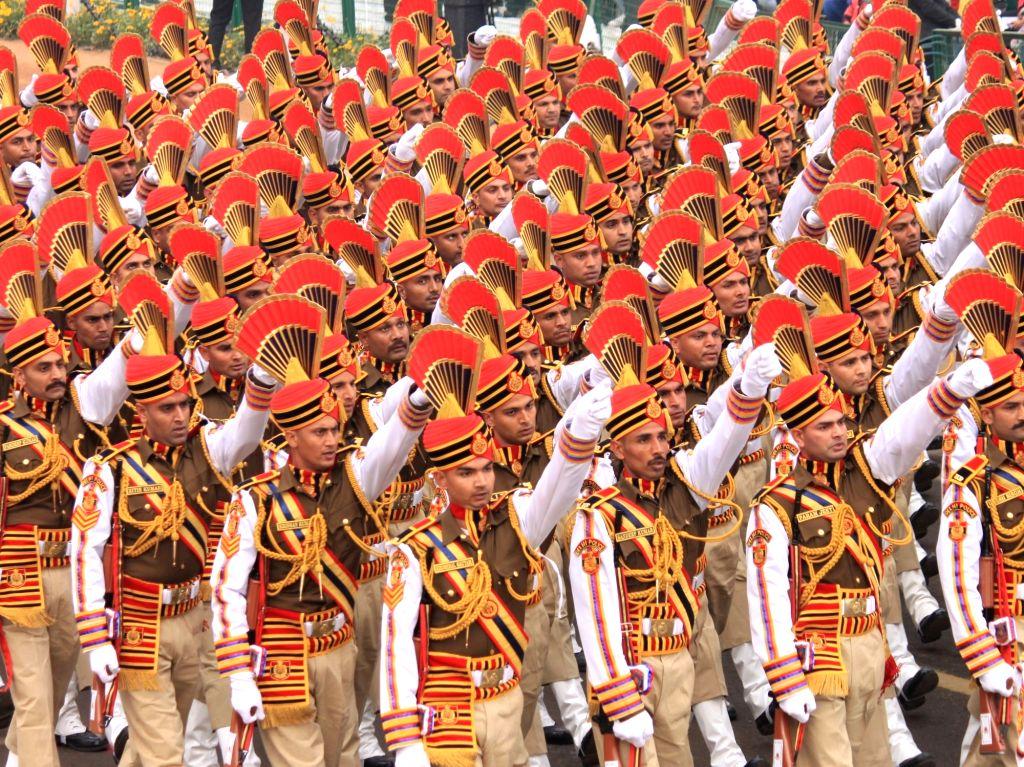 Rehearsals underway ahead of Republic Day at Rajpath in New Delhi on Jan 23, 2018.
