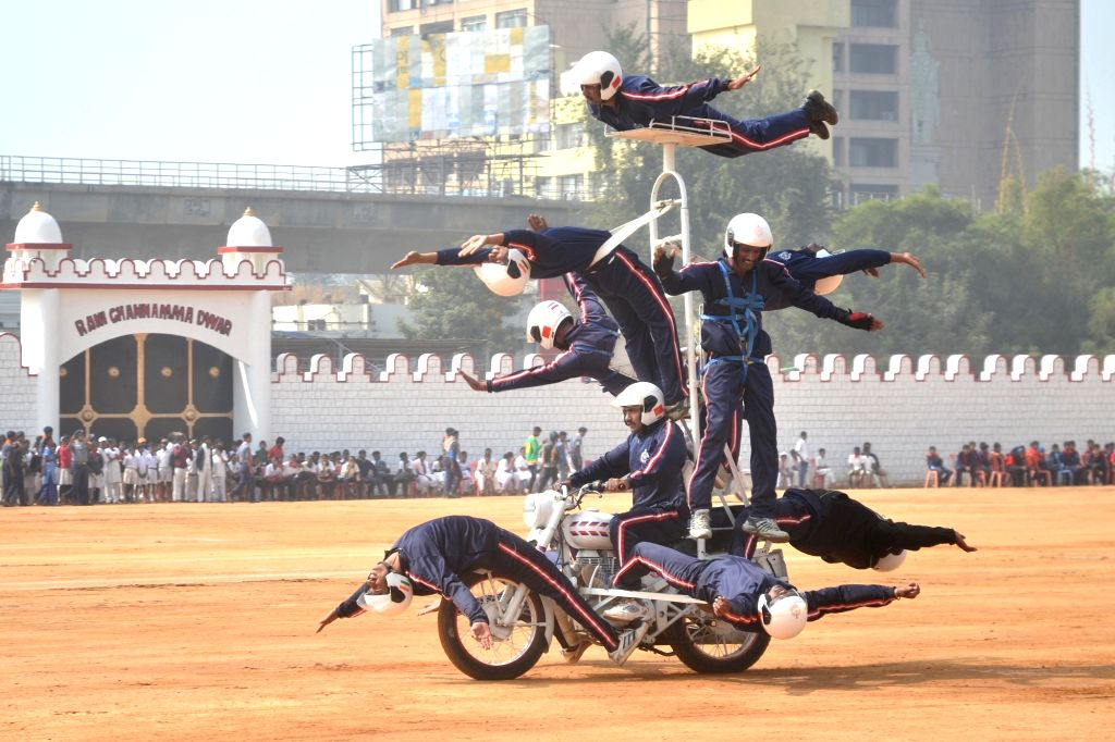 Rehearsals underway ahead of Republic Day at Manekshaw Parade Grounds in Bengaluru on Jan 23, 2018.