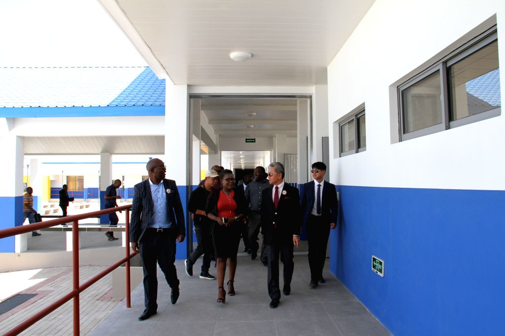 REINFONTEIN, Sept. 13, 2019 - Chinese Ambassador to Namibia Zhang Yiming (2nd R, front) inspects the Chinese-funded National Youth Training Center in Reinfontein, Namibia, Sept. 13, 2019. A ...