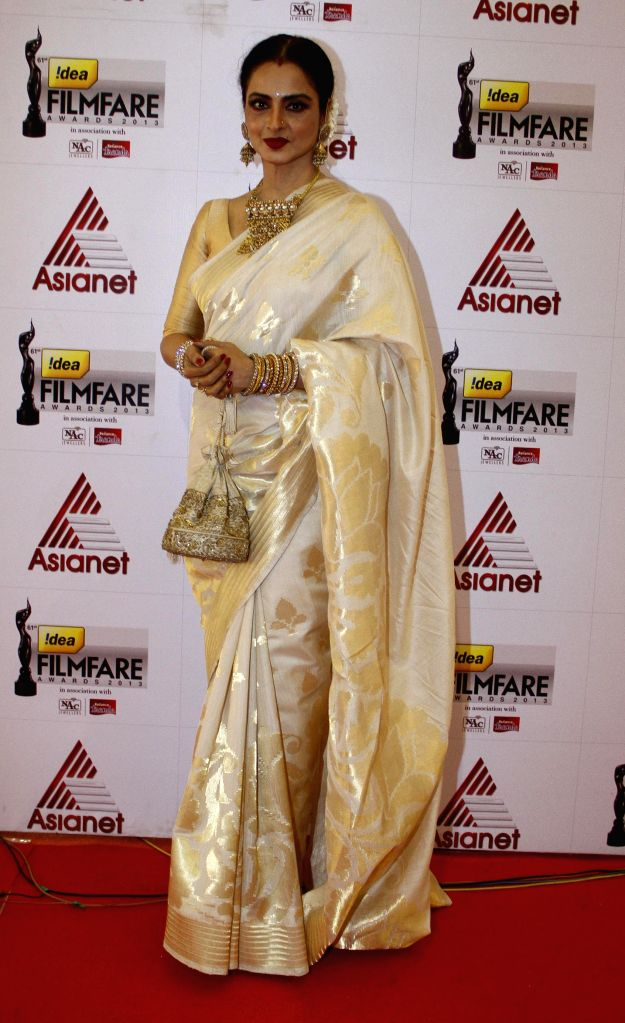 Rekha at the `61st Idea Filmfare South Awards 2013` held in Chennai at Nehru Stadium. - Rekha
