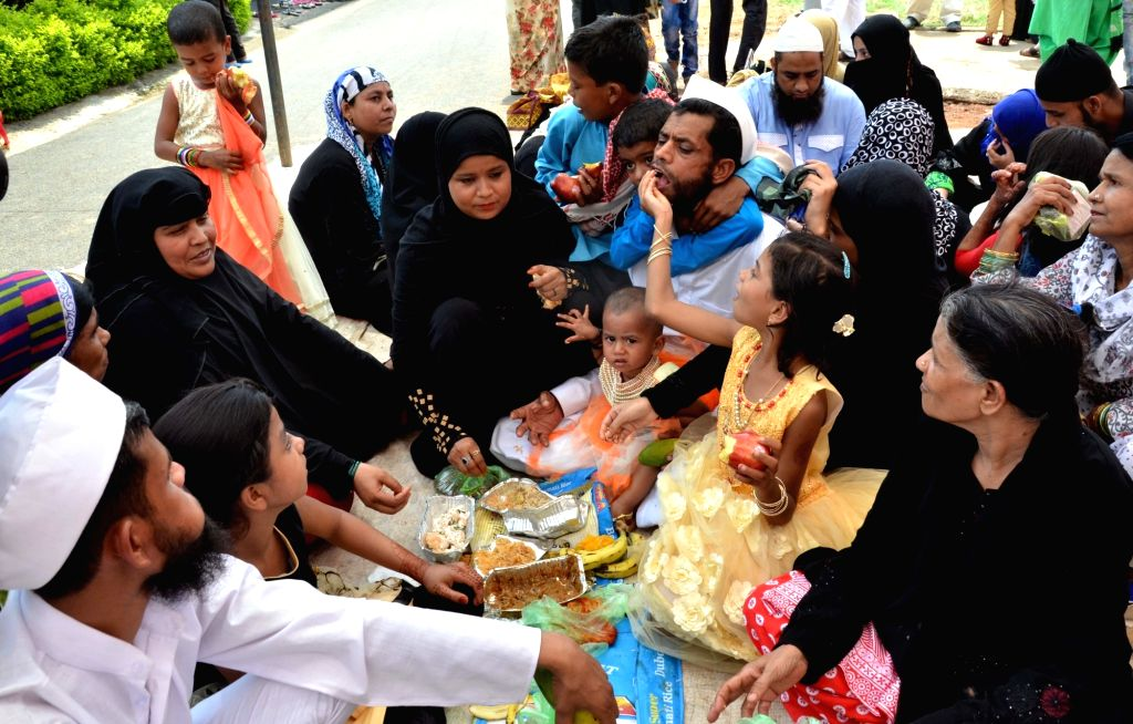 Relatives of the inmates of Bhopal Central Jail exchanging greetings on the occasion of Eid-ul-Fitr, on June 26, 2017.