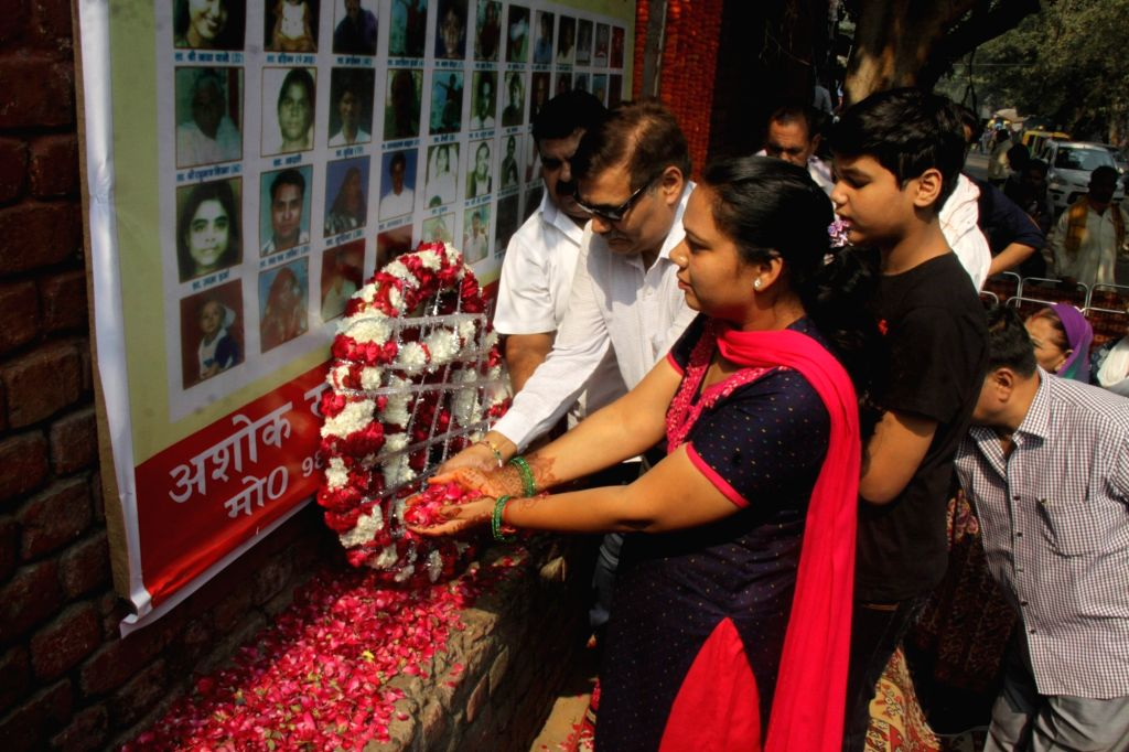 Relatives of those who lost their lives in 2005 Sarojini Nagar blast, during a prayer meet in New Delhi, on Oct 29, 2017.