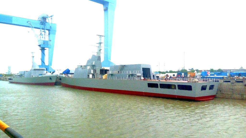 Reliance Defence and Engineering Limited (RDEL) launches the first two Naval Offshore Patrol Vessels (NOPVs) Shachi and Shruti at the RDEL Shipyard in Pipavav of Gujarat on July 25, 2017. ...